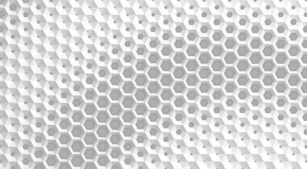 Biała siatka komórek w postaci sześciokątnych plastrów miodu o różnej średnicy