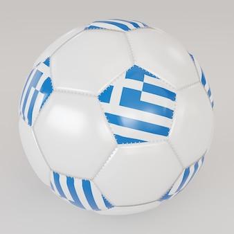 Biała skarpety piłka z flagą grecji na białym tle