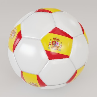 Biała skarpety piłka z flagą hiszpanii na białym tle