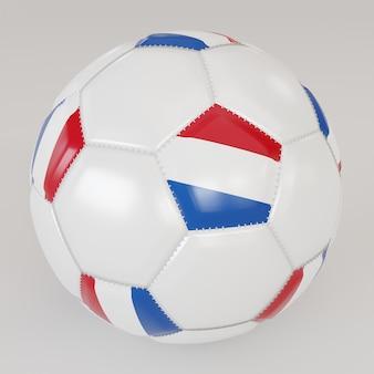 Biała skarpety piłka z flagą holandii na białym tle