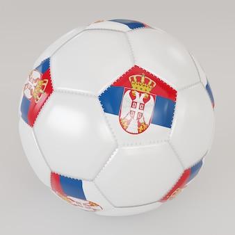 Biała skarpety piłka z flagą serbii na białym tle