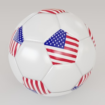 Biała skarpety piłka z flagą usa na białym tle
