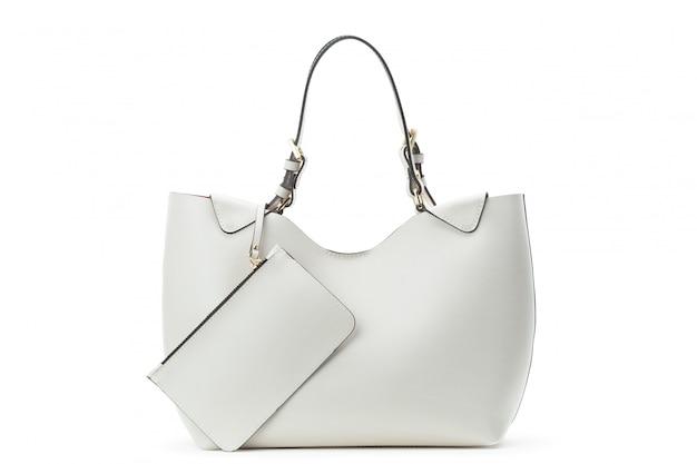 Biała skórzana torba kobieta na białym tle nad białym