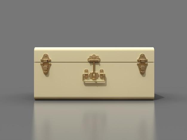 Biała skórzana walizka w kolorze kości słoniowej z wykwintnymi klamrami
