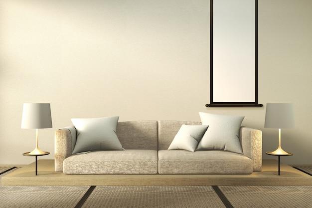 Biała sofa i lampy w minimalistycznym salonie