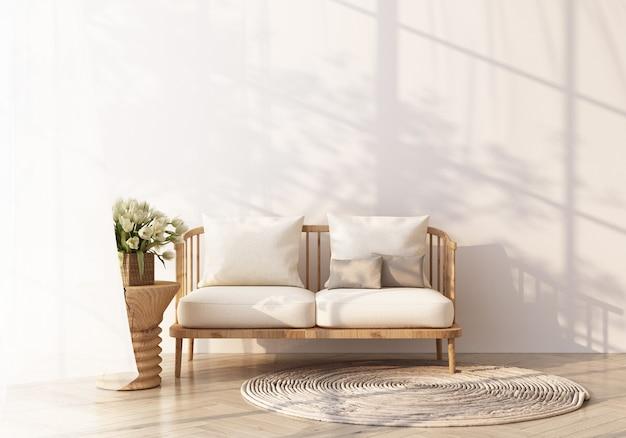 Biała sofa na drewnianej podłodze przez okno wpada światło i padają na nie cienie. z białą ścianą i czystym renderowaniem 3d
