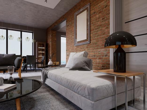 Biała sofa z bocznym stolikiem z czarną lampką, na tle ceglanego muru z pustym obrazkiem. poduszki, koc, dywan, wystrój. renderowanie 3d
