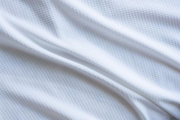 Biała sportowa tkanina odzieżowa koszulka piłkarska jersey tekstura streszczenie