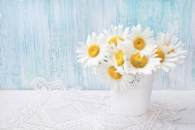 Biała stokrotka kwitnie w białej wazie