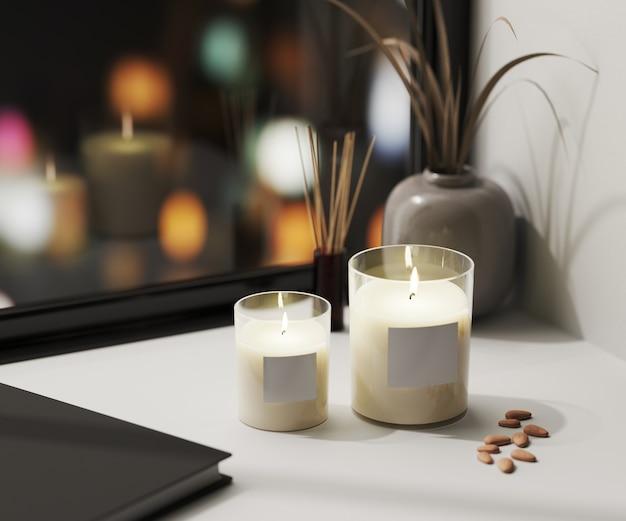 Biała świeca zapachowa w szkle z półfabrykatem z dyfuzorem z trzciny aromatycznej i wazonem ze stołem blured night city lights, domowe świece aromatyczne, aromaterapia, renderowanie 3d