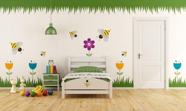 Biała sypialnia dziecięca z pojedynczym łóżkiem, zamkniętymi drzwiami i kolorową dekoracją. renderowanie 3d