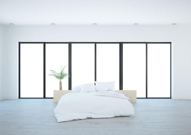 Biała sypialnia z szerokimi oknami tarasowymi