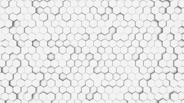 Biała sześciokątna tekstura komórki. plaster miodu na białym tle. geometria izometryczna.