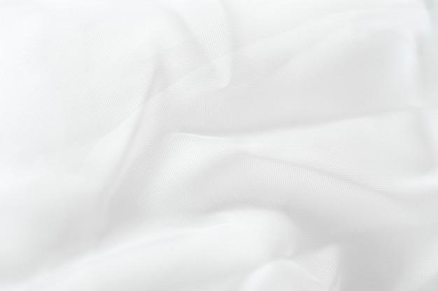 Biała tkanina tekstura zbliżenie białe tło