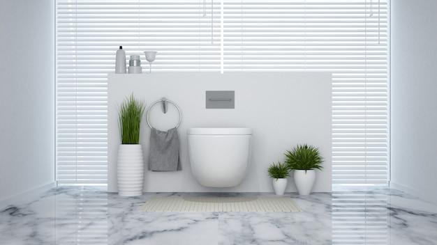 Biała toaleta w domu lub hotelu - renderowanie 3d