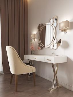Biała toaletka z dekoracją, lustrem i kinkietami na ścianie. białe miękkie krzesło. renderowania 3d.