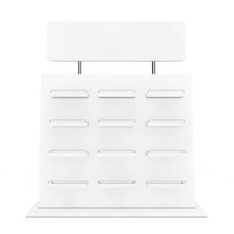 Biała wystawa promocja prezentacja na białym tle. renderowanie 3d.