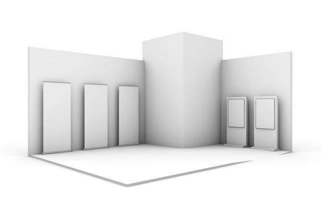 Biała wystawa stoisko wystawowe na białym tle