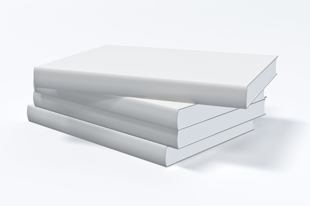Biała zamknięta księga na białym tle.