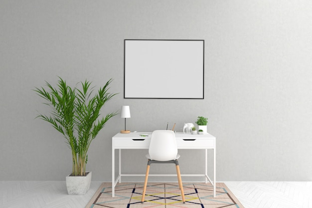 Białe biurko w skandynawskim pokoju