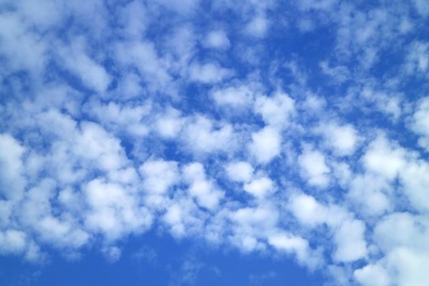 Białe chmury altocumulus rozrzucone na tętniącym życiem błękitne niebo