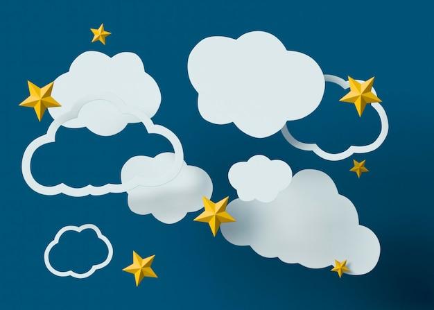 Białe chmury i żółte gwiazdy