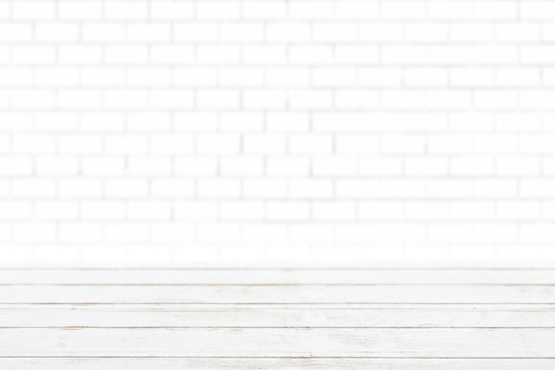 Białe drewniane deski z białym tłem produktu ściennego z cegły