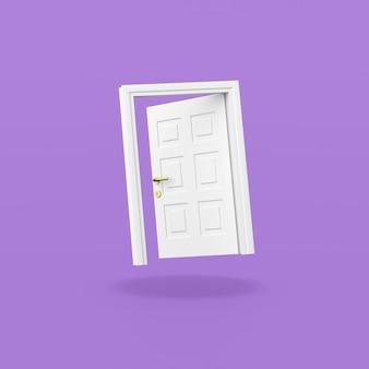 Białe drzwi na fioletowym tle