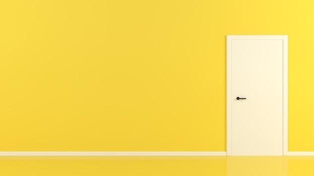 Białe drzwi na żółtym pokoju kontrast streszczenie koncepcja