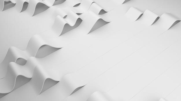 Białe fałdy pasków na tle. zdeformowana pomarszczona powierzchnia z miękkim światłem. nowoczesne, jasne tło ze zmarszczkami w minimalistycznym stylu. ilustracja renderowania 3d.