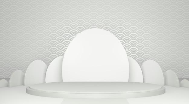 Białe geometryczne podium podium japońskiej tradycji.