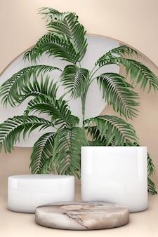 Białe i beżowe podium na cokole 3d ustawia liść palmy na brązowej, naturalnej ścianie. letnia prezentacja w geometrycznym kształcie marmuru na produkty kosmetyczne