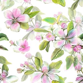 Białe i różowe kwiaty jabłoni z liśćmi i pąkami.