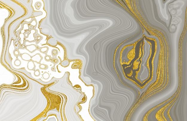 Białe i szare marmurowe złoto żyłkowane tekstury jasne tło marszczyć agat