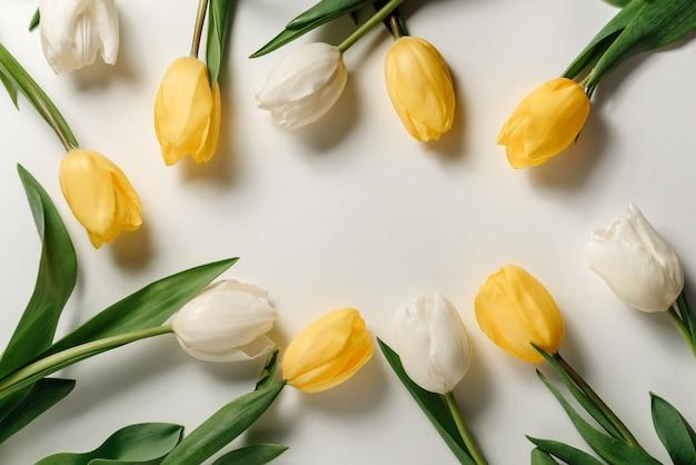 Białe i żółte tulipany leżą. rama wiosennych kwiatów.