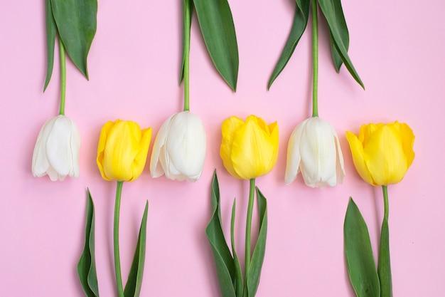 Białe i żółte tulipany na różowo.