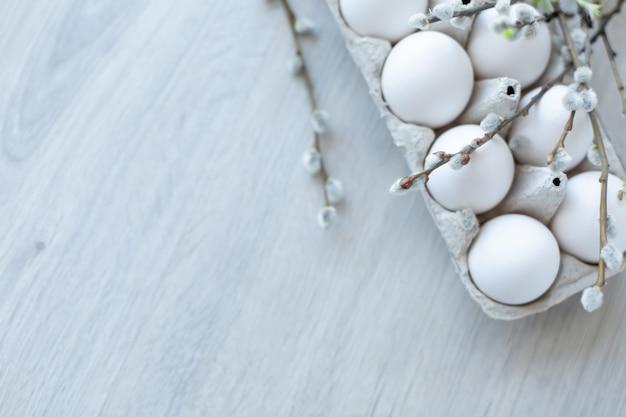 Białe jaja kurze w otwartym kartonowym pudełku z gałązkami wierzby z miękkimi białymi pąkami