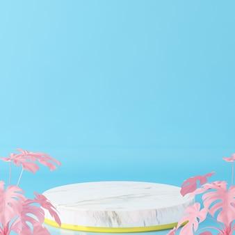 Białe kamienne podium do pokazania produktu z niebieskim