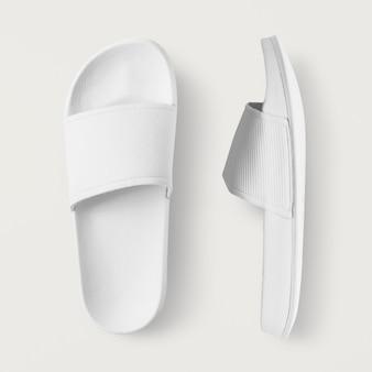 Białe klapki letnie sandały z suwakiem