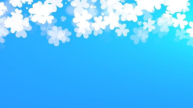 Białe koniczynki na tle połysku, święto świętego patryka. luksusowy i elegancki styl ilustracji 3d na wakacje
