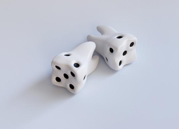 Białe kości casino jako ząb na białym tle. próchnica zębów. nie baw się koncepcją kreatywną dotyczącą próchnicy. realistyczna ilustracja renderowania 3d