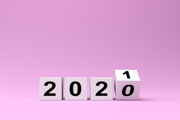 Białe kostki z napisem 2020 zastępuje rok 2021 na różowym tle, render 3d