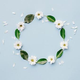 Białe kwiaty i zielone liście ułożone w okrągły kształt na niebieskim tle