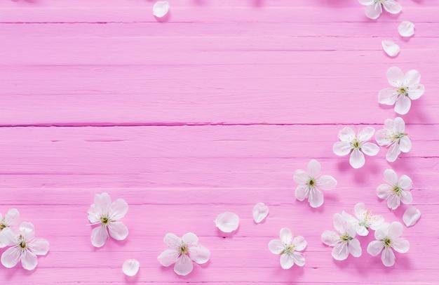 Białe kwiaty wiśni na różowej powierzchni drewnianej