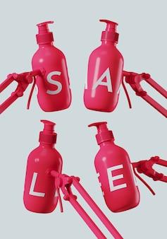 Białe litery sprzedaży na różowej butelce z regulowanym zaciskiem