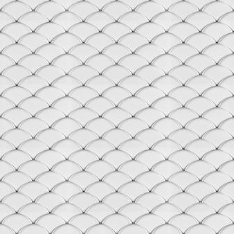 Białe łuski geometryczny bezszwowy wzór renderowania 3d