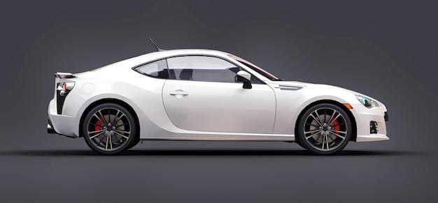 Białe, małe sportowe auto coupe. renderowania 3d.