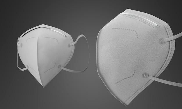 Białe maski medyczne z filtrem na szarym tle gradientu