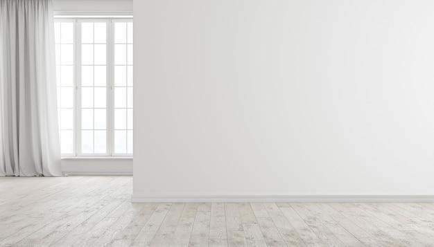 Białe nowoczesne jasne puste wnętrze pokoju z oknem, drewnianą podłogą i zasłoną. ilustracja renderowania 3d.