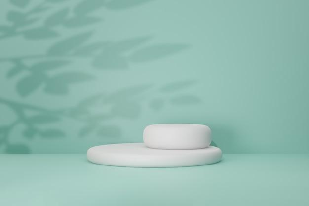 Białe okrągłe tło podium. czysta okrągła scena w jasnozielonym kolorze motywu z cieniem liści. ilustracja renderowania obrazu 3d.